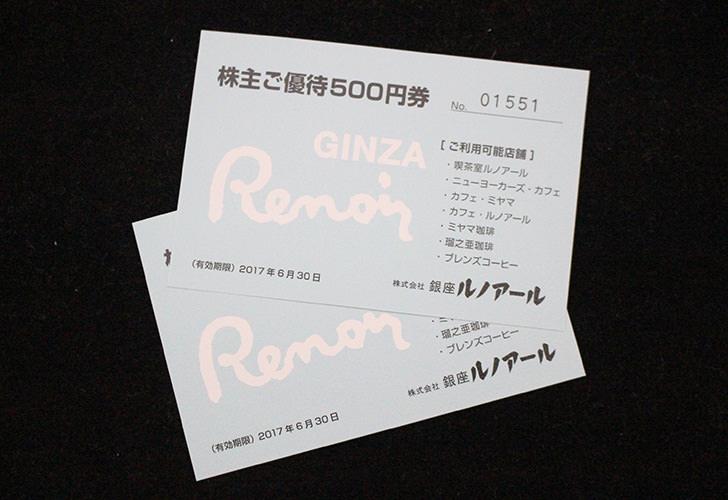 銀座ルノアール(9853)株主優待券