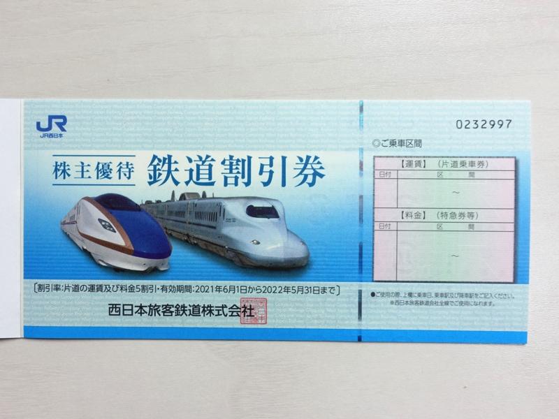 JR西日本の株主優待鉄道割引券